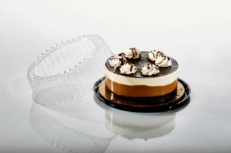 T148 9'' Roud Black Cake Tray With Cake & Lid